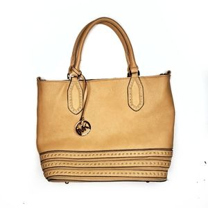 Michael Kors Tan Leather Rivet Tote Bag Purse
